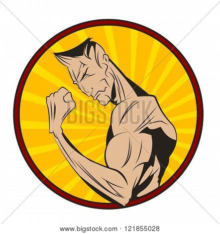 Bodybuilder shows his biceps. Healthy life style illustration. Vector