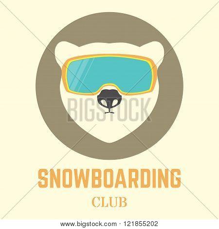 Polar Bear With Snowboard Goggles.