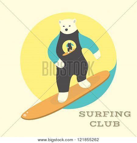 Polar Bear rides on a surfboard.