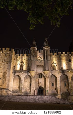 AVIGNON, FRANCE - MAY 04, 2015: Avignon pope palace in the night, France