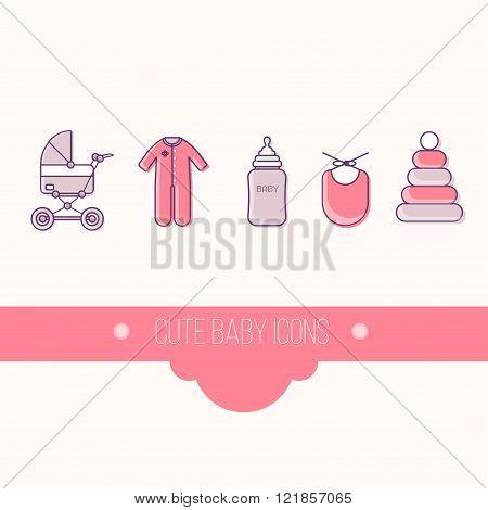 cute baby icon set vector