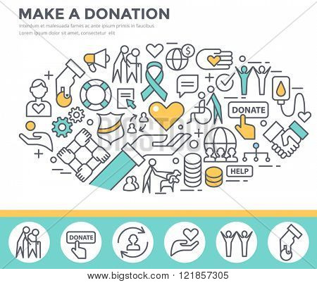 Donation and volunteer work concept illustration, thin line flat design