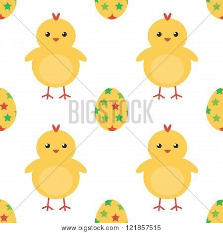 Easter eggs and cute baby chicken seamless pattern background.