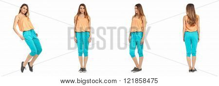 Young sexy woman in summer breeches isolated on white