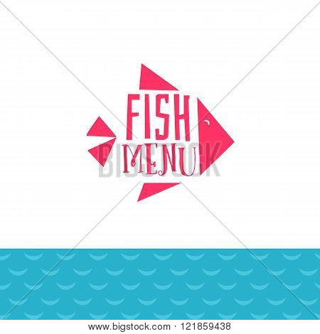 Fish menu  with sea waves
