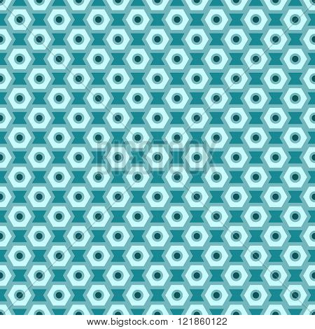 Cyan Vector Seamless Abstract Mechanic Cell Vintage Texture. Vector Illustration