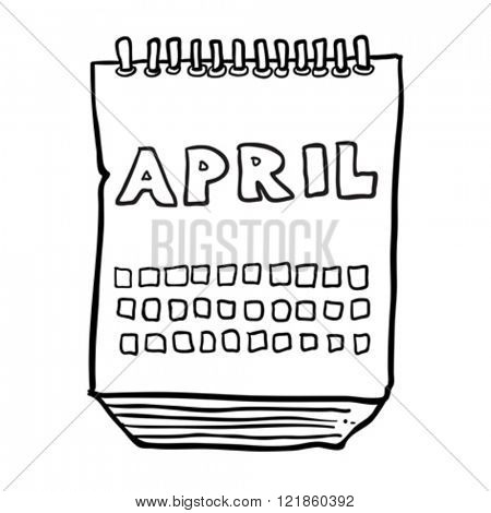 simple black and white freehand drawn cartoon calendar showing month of april