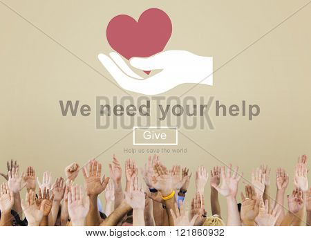 We Need Your Help Welfare Donation Concept
