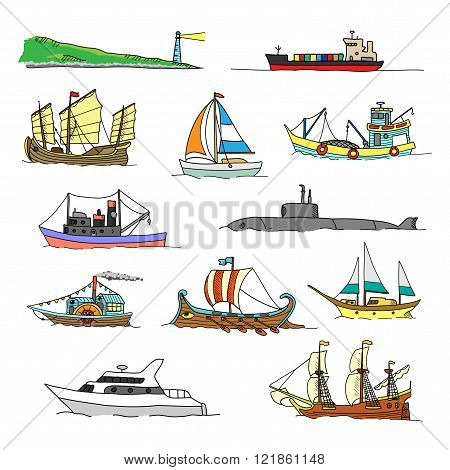 Set with boats of different ages. Doodles.