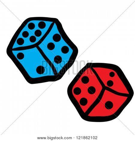 freehand drawn cartoon dices