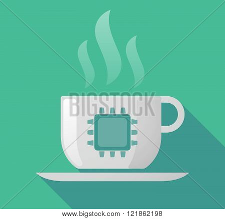 Long Shadow Cup Of Coffee With  A Cpu