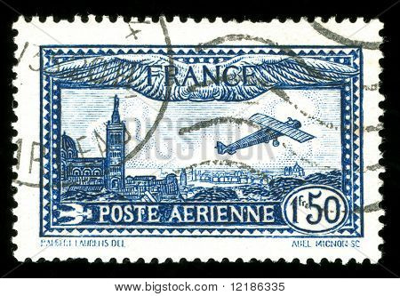 rare vintage French aircraft stamp from the art deco period
