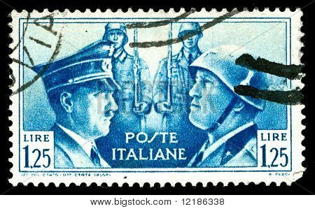 rare vintage 1930s Italian stamp depicting the dictators, Hitler and Mussolini