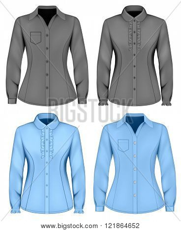 Formal long sleeved blouses for lady. Blouse with ruffles. Vector illustration.