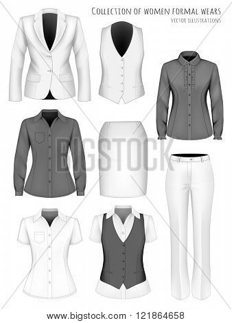 Collection of formal wear for business women. Fully editable handmade mesh. Vector illustration.
