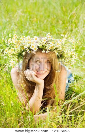 Girl  In Camomiles Chaplet In Grass