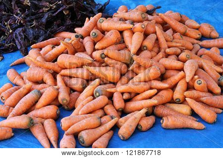 Pile Of Carrots At Outdoor Market