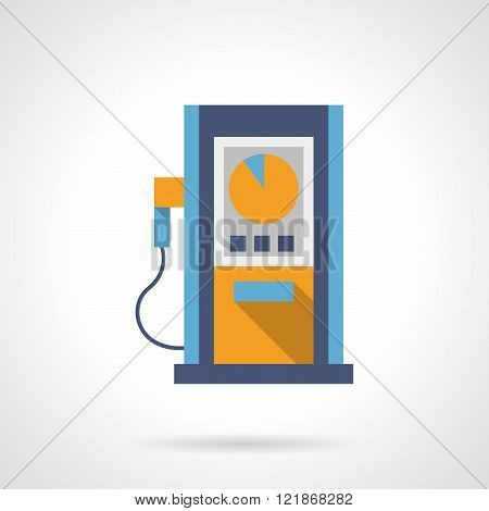 Fuel station flat color design vector icon