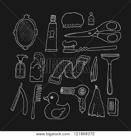 Bathroom. Cosmetics objects. Doodles. Isolated. Vector.