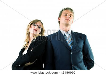 Two arrogant business people (man / woman)