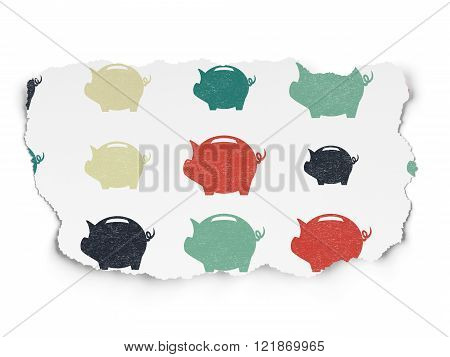 Money concept: Money Box icons on Torn Paper background
