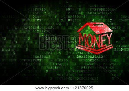 Money concept: Money Box on digital background