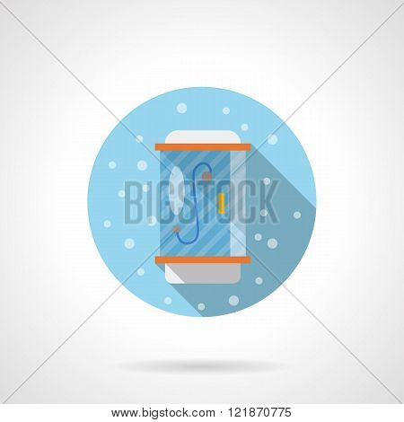 Bathroom shower round flat color vector icon