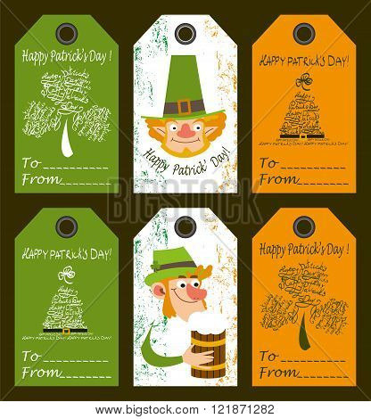 Set of congratulations labels for Saint Patrick's day.Set contains gift's labels  with images of shamrock,had,leprechaun,man with beer mug.