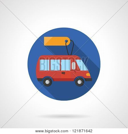 Minibus business round flat color vector icon