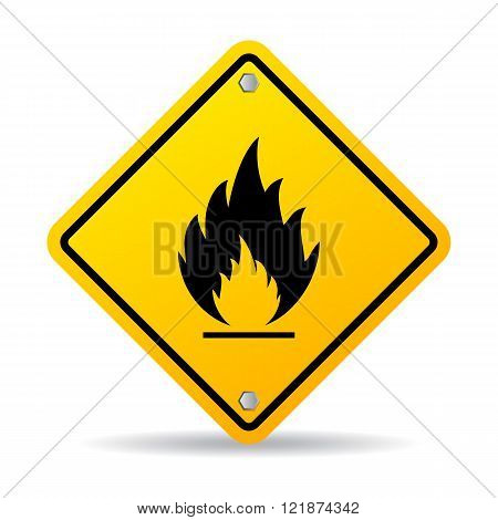 Fire danger warning sign isolated on white background