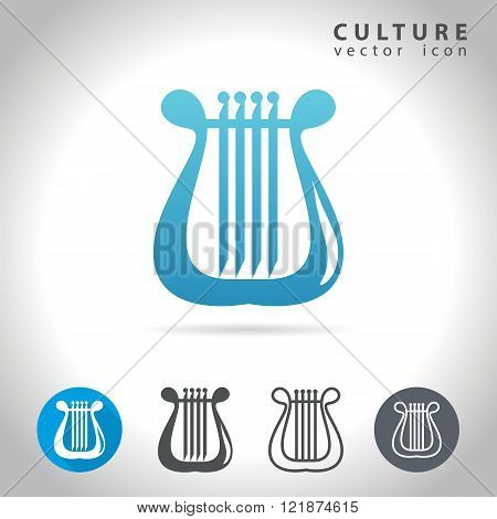 Culture icon set collection of harp images vector illustration