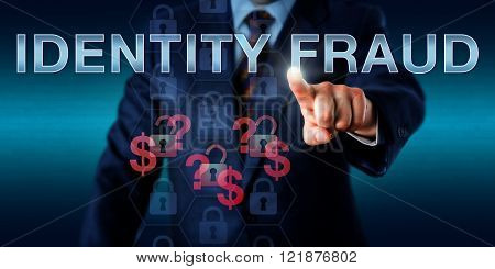 Cyber fraudster is touching IDENTITY FRAUD on a virtual screen. Information technology and security concept for white collar crime of using stolen personal information for online procurement.