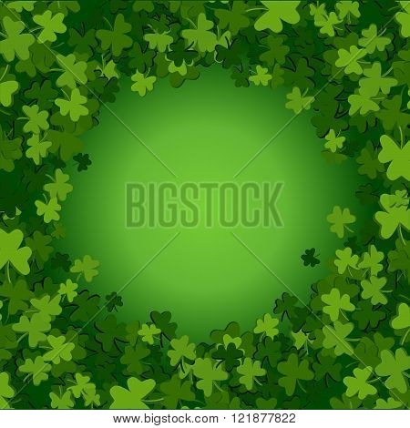 Abstract St. Patrick's Day background with falling clover leaves vector illustration