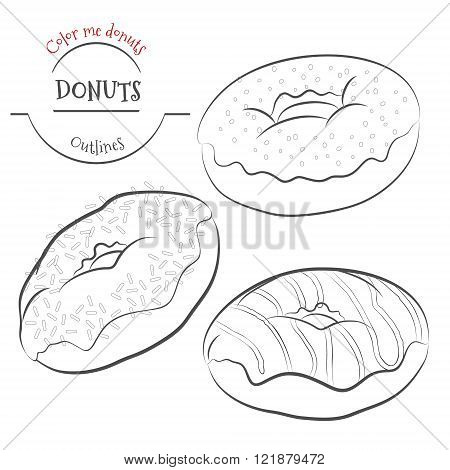 Assorted vector donuts line drawing contour. Collection of tasty hand drawn donuts with different icings. Contour vector doughnuts isolated on white background. Design for cafe restaurants diner menu