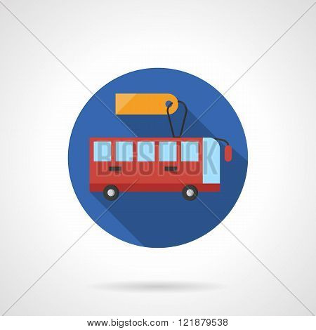Bus for rent round flat color vector icon