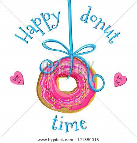 Creative hand drawn vector illustration of doughnut with pink icing playfully hanging on a blue ribbon. Heart shaped candies with words Eat me and Bite me laying around. Isolated on white background