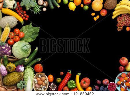 Deluxe food background. Food photography different fruits and vegetables isolated black background. Copy space. High resolution product