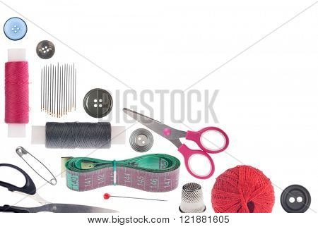 corner from sewing items isolated on white background