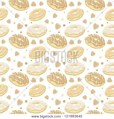 Beautiful vector seamless pattern with different donuts. Seamless vector food background in vintage style. Abstract vintage golden sepia food background with donuts. Great for wrapping paper and as web background