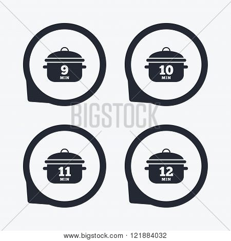 Cooking pan icons. Boil nine, twelve minutes.