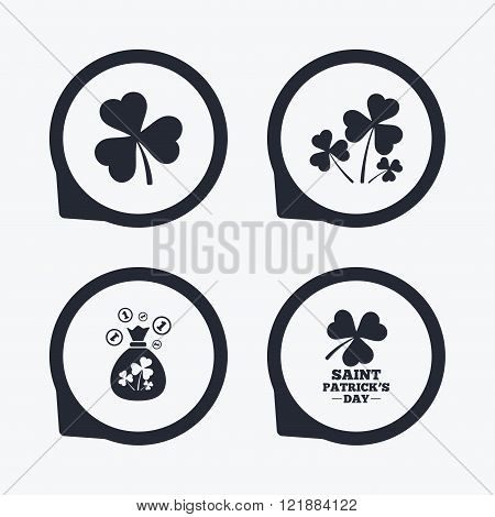 Saint Patrick day icons. Money bag with coins.