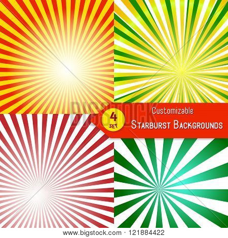 Set of sunburst backgrounds. Abstract sun rays. Collection of orange, red, green and yellow vector rays. Set of sunburst retro textures