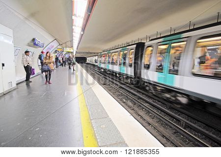 Paris, France, February 12, 2016: interior of a metro station in Paris, France. Metro is very popular transport in Paris