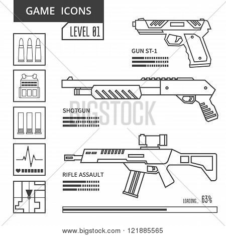 Game icons weapon
