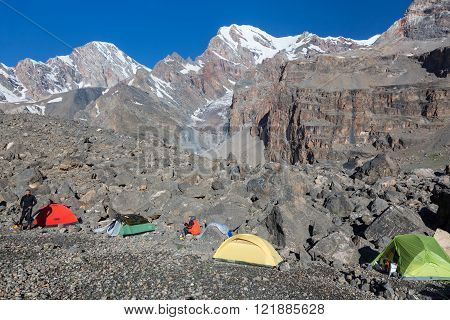 Mountain Expedition Camp in Morning