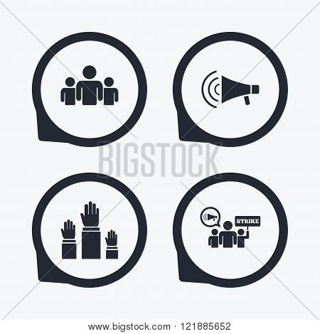 Strike group of people. Megaphone loudspeaker.