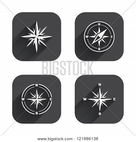 Windrose navigation icons. Compass symbols.