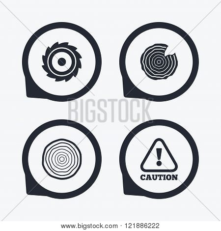 Wood and saw circular wheel icons. Attention.
