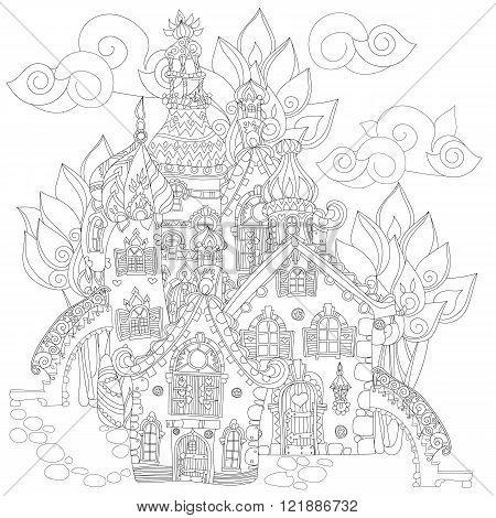 Vector cute fairy tale town doodle