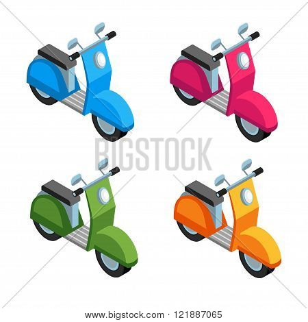 Set of Isometric icon scooter. 3d icons scooters of different colors isolated on white background. Four scooters Icons in a flat style. Vector illustration.